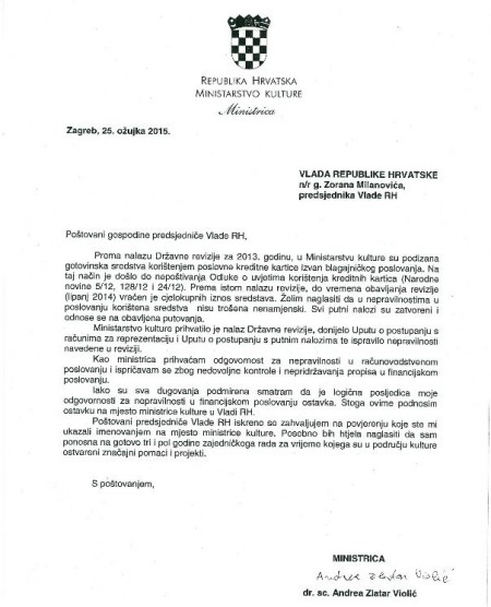 pismo ostavke